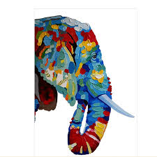 colorful elephant acrylic paintings palette knife modern abstract home decor wall art hand painted animal oil