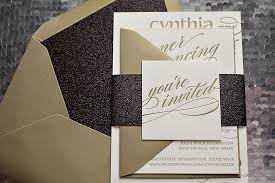 black and gold wedding invitations real wedding cynthia and black and gold glitter