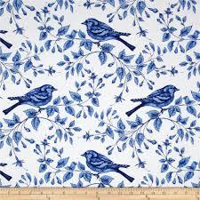 michael miller blue u0026 white bird on the vine azure discount