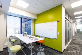 collaboration space in open office area accent colors colorful