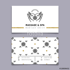 Massage Therapy Business Cards Vector Massage And Spa Therapy Business Card Template Trendy
