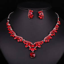 red crystal necklace set images New fashion luxury silver plated red crystal bridal jewelry set for br jpg