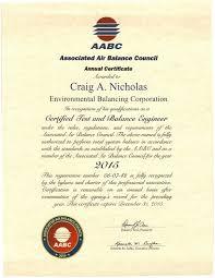Balance Certification Letter Environmental Balancing Corporation
