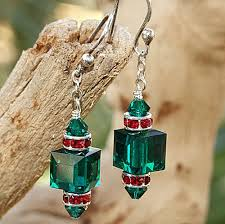 christmas earrings swarovski christmas earrings handmade emerald green siam
