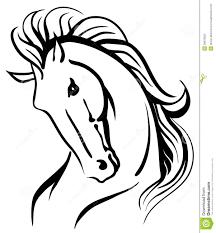 mustang horse drawing stylised horse head stock vector image of beautiful 29878023