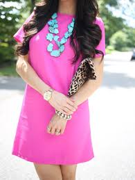 pink turquoise necklace images Summer staple hot pink shift dress the sweetest thing bloglovin 39