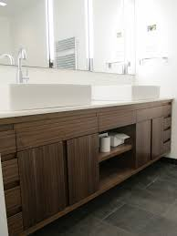 amazing brown solid plywood custom floating vanity with storage