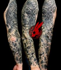 viking skulls smoke sleeve tattoo jackie rabbit by jackierabbit12