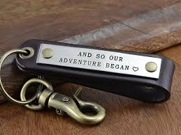 leather anniversary gifts for personalized leather keychain fob anniversary gift for men