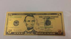 new year dollar bill 24k gold banknotes us 5 dollar bill world paper money collections
