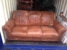 distressed leather chesterfield sofa art deco vintage tan brown distressed leather sofa 3 seater