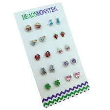 clip on earrings for kids color enamel silver magnetic clip on studs earrings gift for