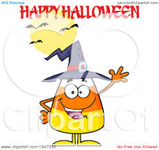 clipart of a cartoon candy corn character wearing a witch hat and