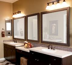 Bathroom Vanities And Mirrors Sets Modern Brown Lacquered Bathroom Vanity Cabinets With White Top Set