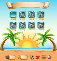 game template with beach background vector free download