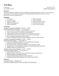 Best Resume Samples For Logistics Manager by Transportation Manager Resume Resume For Your Job Application