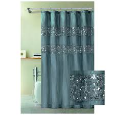 bathroom and more blue fabric shower curtain with stitched