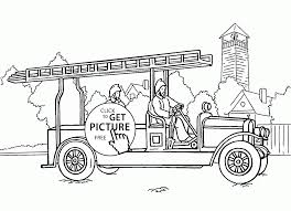 very old fire engine coloring page for kids transportation