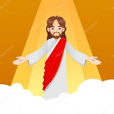 imagenes de jesucristo animado jesús cristo en las nubes vector de stock yusak p 84565680