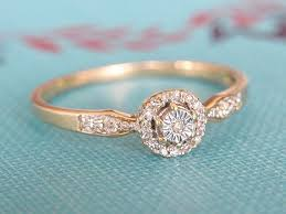 flat engagement rings vintage engagement ring deco diamond cluster ring 9k yellow