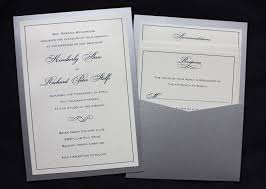 silver wedding invitations navy silver formal border scroll clutch pocket wedding