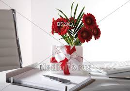 Office Desk Gift Stock Photo Flowers And Gift On Office Desk Image Bs2303