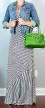 Kelly Green Maxi Dress Post Striped Maxi Dress Jean Jacket Kelly Green Bag