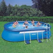 Intex Metal Frame Swimming Pools Amazon Com Intex 18ft X 10ft X 42in Oval Frame Pool Set With
