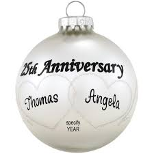 anniversary ornament personalized 25th anniversary hearts swirls glass ornament
