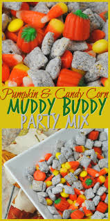 pumpkin candy corn pumpkin and candy corn muddy buddies party mix the thrifty