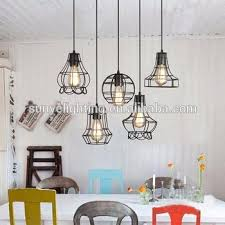 industrial metal cage shade pendant lights modern drop lights for