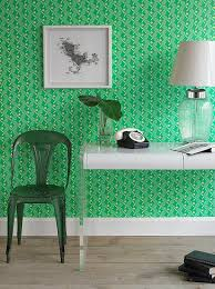 Green Wallpaper Home Decor | this retro near electric green wallpaper brands a space with
