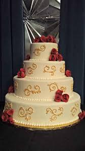 formal gold red white flowers fondant restaurant round wedding