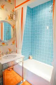 Orange And Blue Shower Curtain Blue And Orange Bohemian Print Shower Curtain