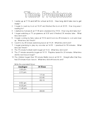 elapsed time word problems 24 hour clock 5th 6th grade