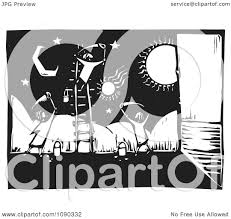 clipart children painting a celestial wall mural black and white