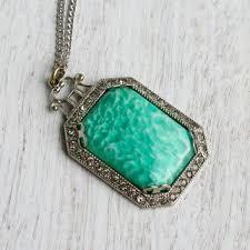 art glass necklace pendant images Shop art deco green glass necklace on wanelo jpg