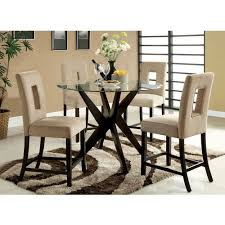 Tempered Glass Dining Table Royce Counter Height Round Tempered Glass Dining Table U2014buy Now