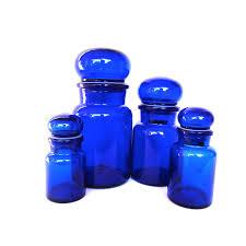 cobalt blue kitchen canisters cobalt blue glass jars glass canisters storage vintage set of four