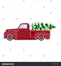 vintage red car christmas tree christmas stock vector 529132504