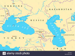 Political Map Asia by Black Sea And Caspian Sea Region Political Map With Capitals Stock