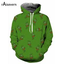raisevern new sweatshirt hoodies 3d print pepe the frog hip hop