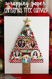wrapping paper tree canvas with photo ornaments