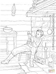 boy abe lincoln reading in a log cabin coloring page free