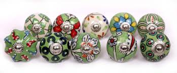 ornated green emboss ceramic knobs hand painted ceramic door knobs