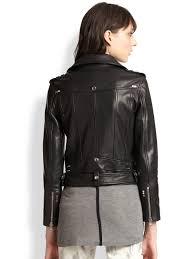 black leather motorcycle jacket the kooples leather motorcycle jacket in black lyst