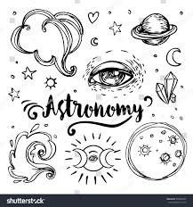 vintage astronomy stars moons planets handdrawn stock vector