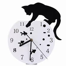 diy 3d wall clock black white cat fish creative quartz wandklok