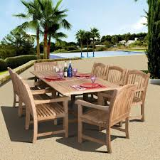 Teak Outdoor Dining Tables Amazonia Newcastle 9 Piece Teak Patio Dining Set Sc Dian Rect