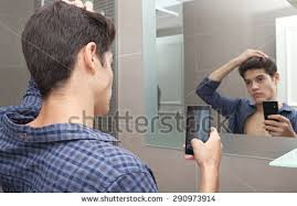 Bathroom Mirror Selfies by Portrait Attractive Young Adolescent Teenager Man Stock Photo